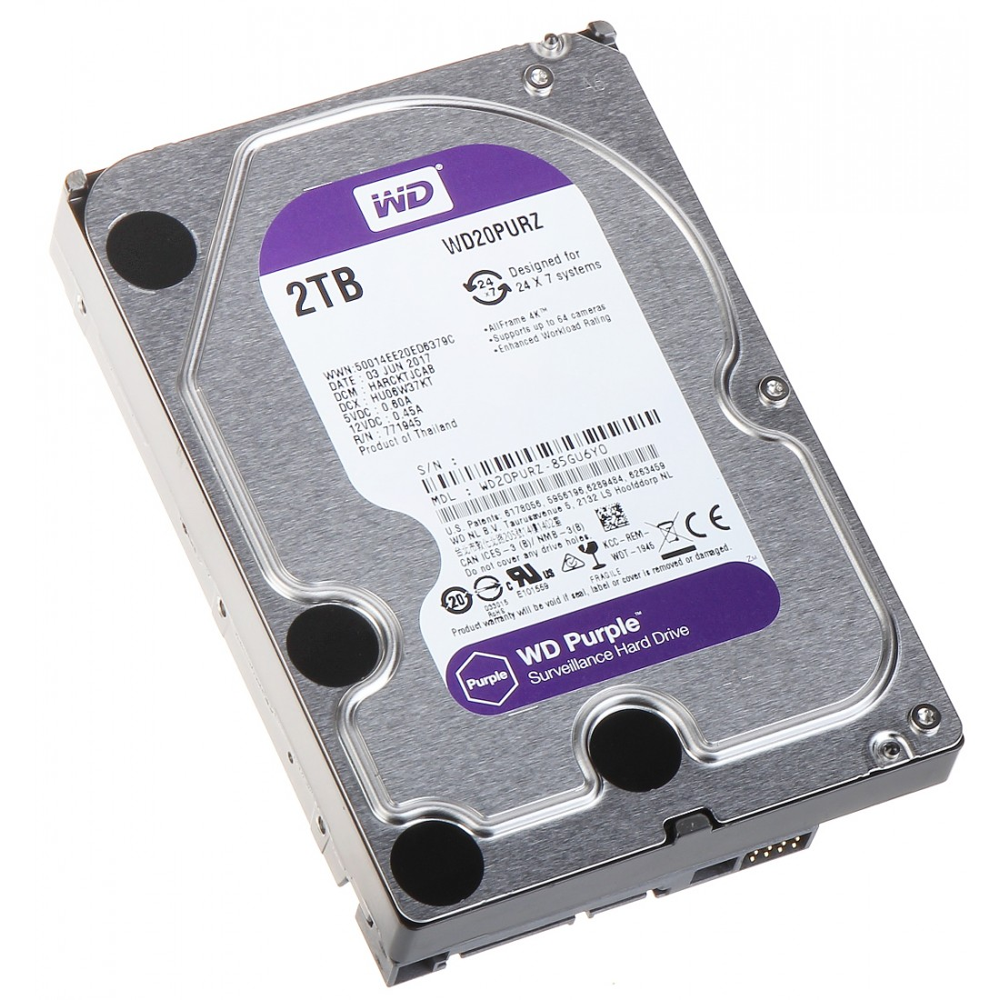HDD PRE DVR HDD-WD20PURZ 2TB 24/7 WESTERN DIGITAL