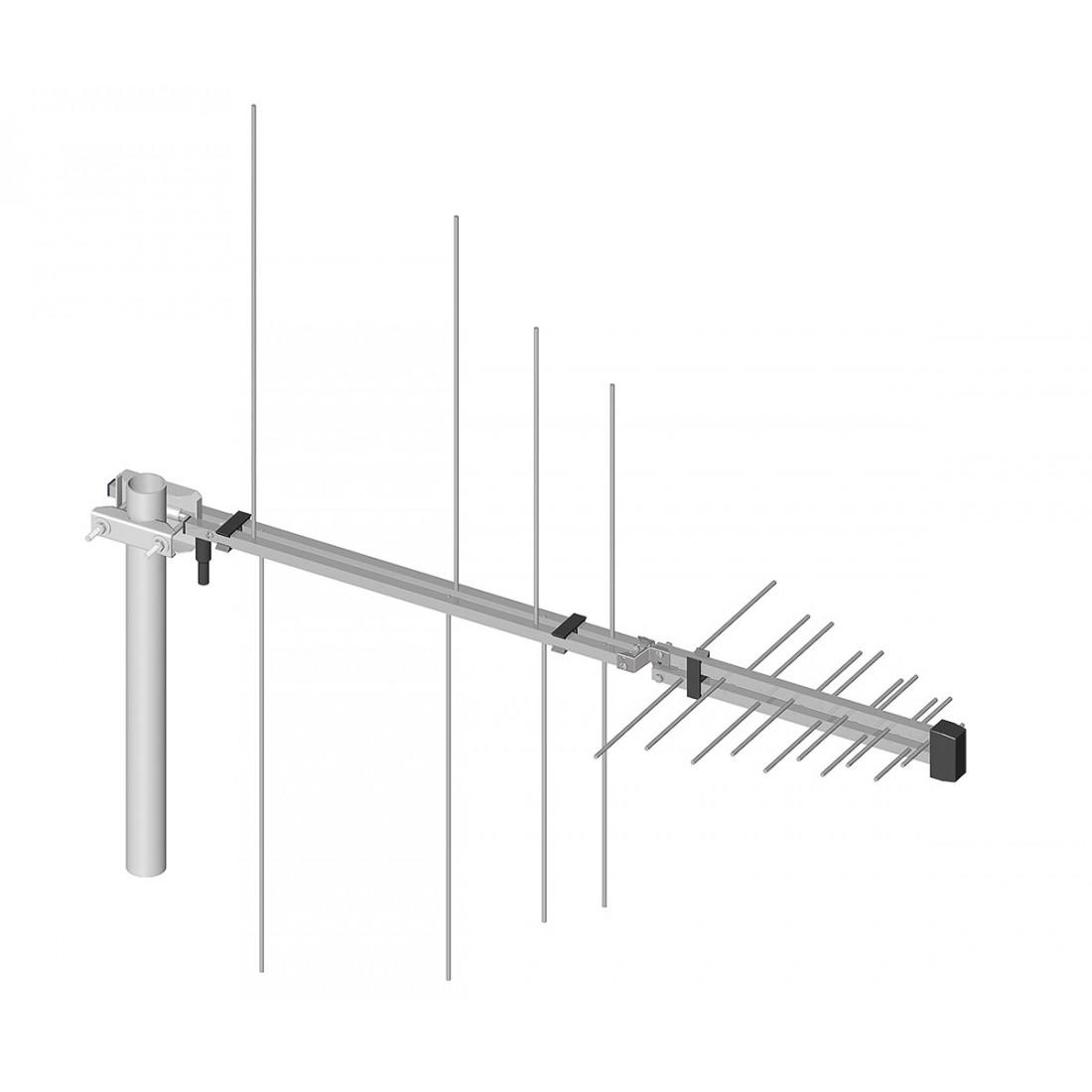 Pohlad na anténu so segmentom VHF inštalovaným na príjem signálov vo vertikálnej polarizácii