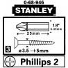 "BIT PH2 ST-0-68-946*P3 1/4 "" STANLEY"